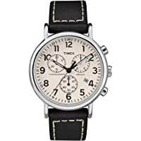 Timex Weekender Unisex-Adult Quartz Watch, Chronograph Display and Leather Strap