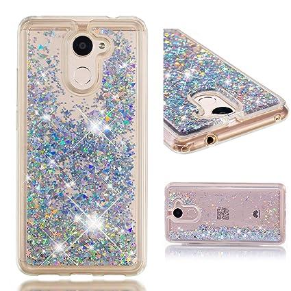 WindTeco Funda Huawei Y7 2017 / Y7 Prime Brillante, Liquido Glitter Carcasa Transparente Silicona Protectora Case Brillo Quicksand Shock-Absorción ...