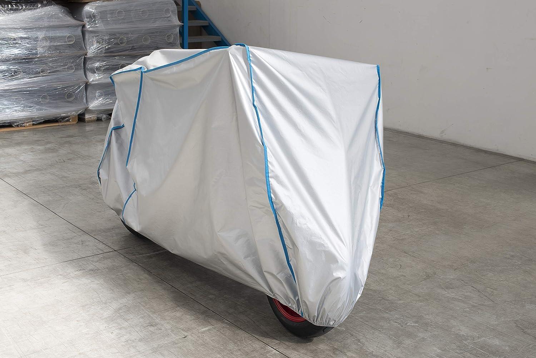 Motorrad Haube Plane Abdeckung atmungsaktiv UV best/ändig kompatibel mit Peugeot Metropolis mit Koffer in Silber