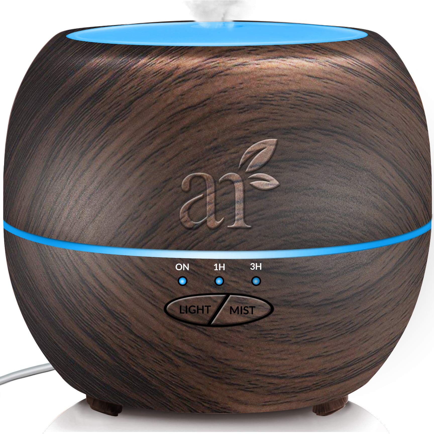 ArtNaturals Aromatherapy Essential Oil Diffuser – (13.5 Fl Oz / 400ml Tank - Dark Brown) – Ultrasonic Aroma Humidifier - Auto Shut-Off and 7 Color LED Lights – For Home, Office & Bedroom