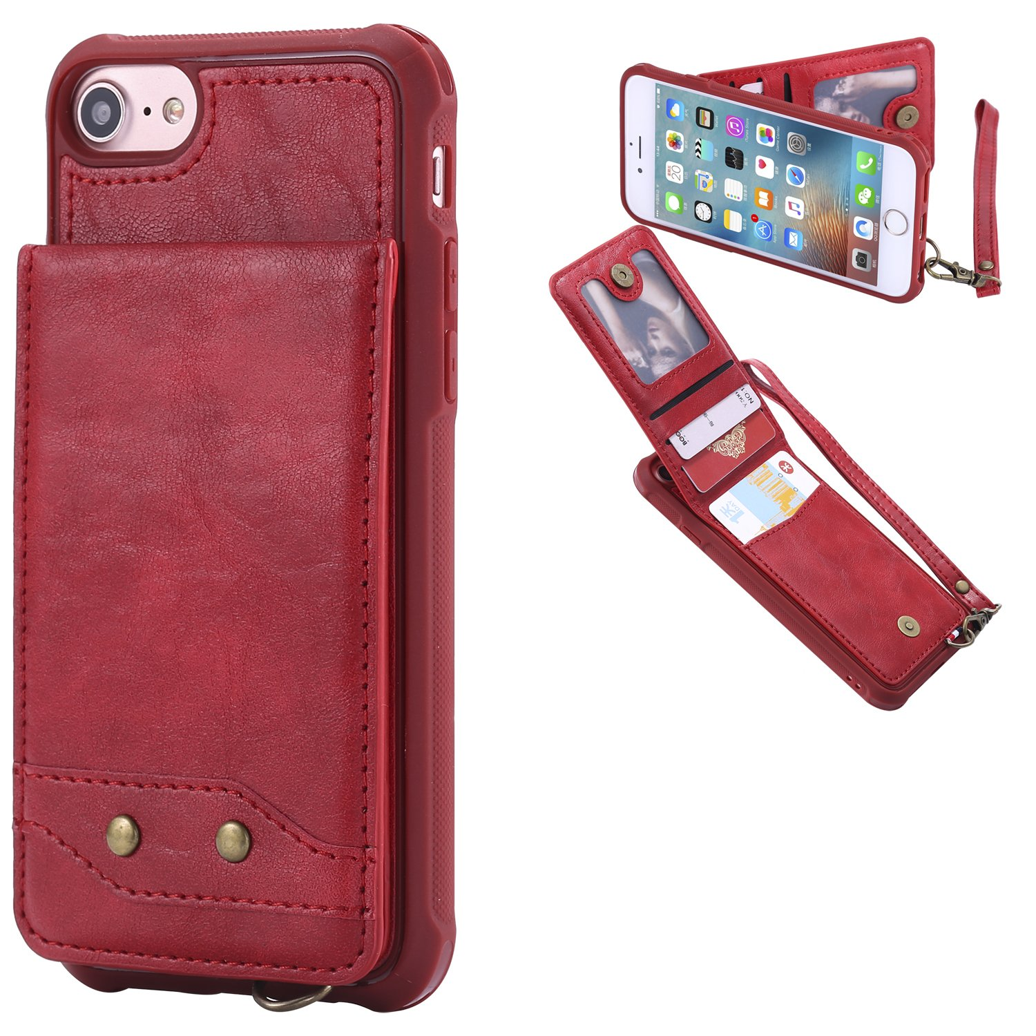 DAMONDY iPhone 6s Plus,iPhone 6 Plus, Luxury Wallet Purse Card Holders Design Cover Soft Shockproof Bumper Flip Leather Kickstand Magnetic Clasp With Wrist Strap Case for iPhone 6s/6 Plus-red