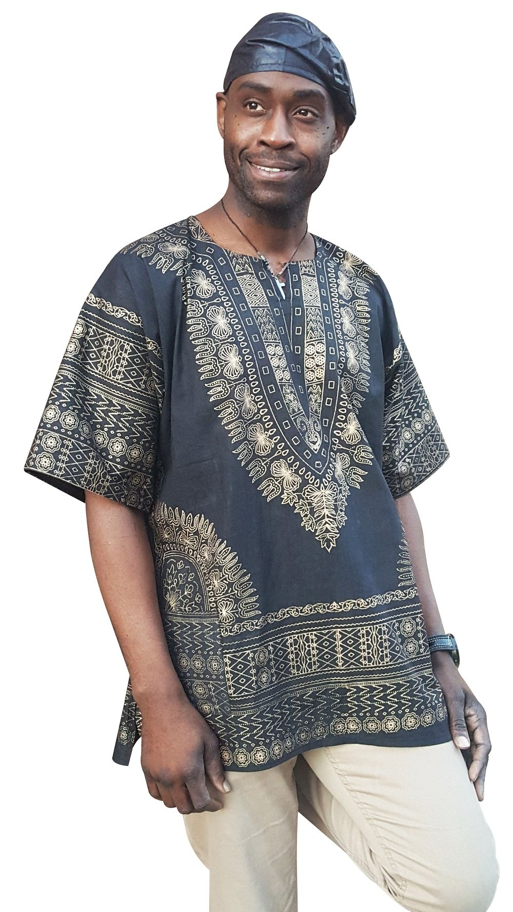 Dupsie's Black and Gold Traditional African Print Dashiki Shirt (7XL)