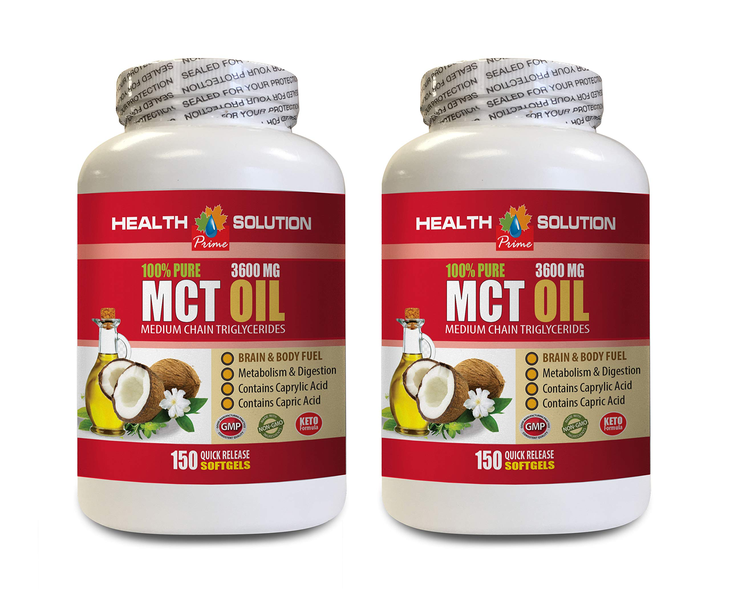 Weight Loss for Men Belly Fat - MCT Oil 3600MG - 100% Pure - mct Oil Pills Nature - 2 Bottles 300 Softgels