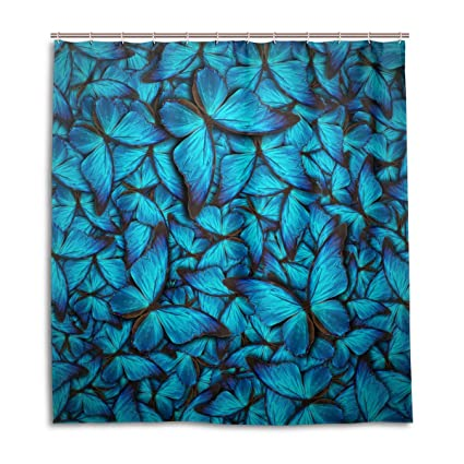Image Unavailable Not Available For Color ALAZA Blue Butterfly Shower Curtain