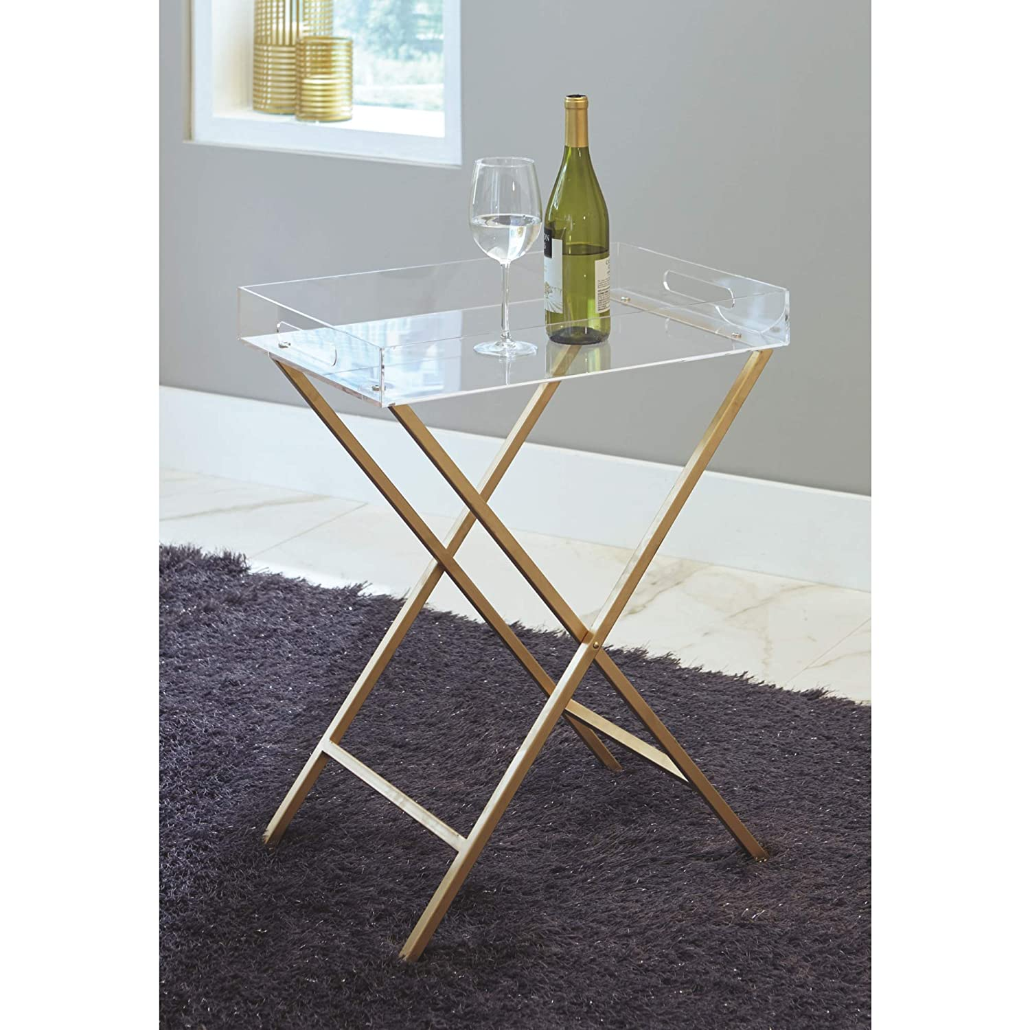 Ashley Furniture Signature Design – Ervinville Tray Accent Table – Contemporary – Clear Acrylic Top – Gold Metal Base