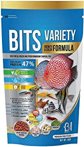 A.D.P. Fish Booster Bits Variety All Discus & Tropical Fish Food Mini Slow Sinking Pellets Grow Faster & Color Enhancing High Protein 47% for Goldfish & Aquarium Tropical Fish 60 g. Small Fish Feed