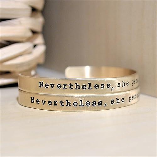 Amazon Com Nevertheless She Persisted Bracelet Feminist Jewelry