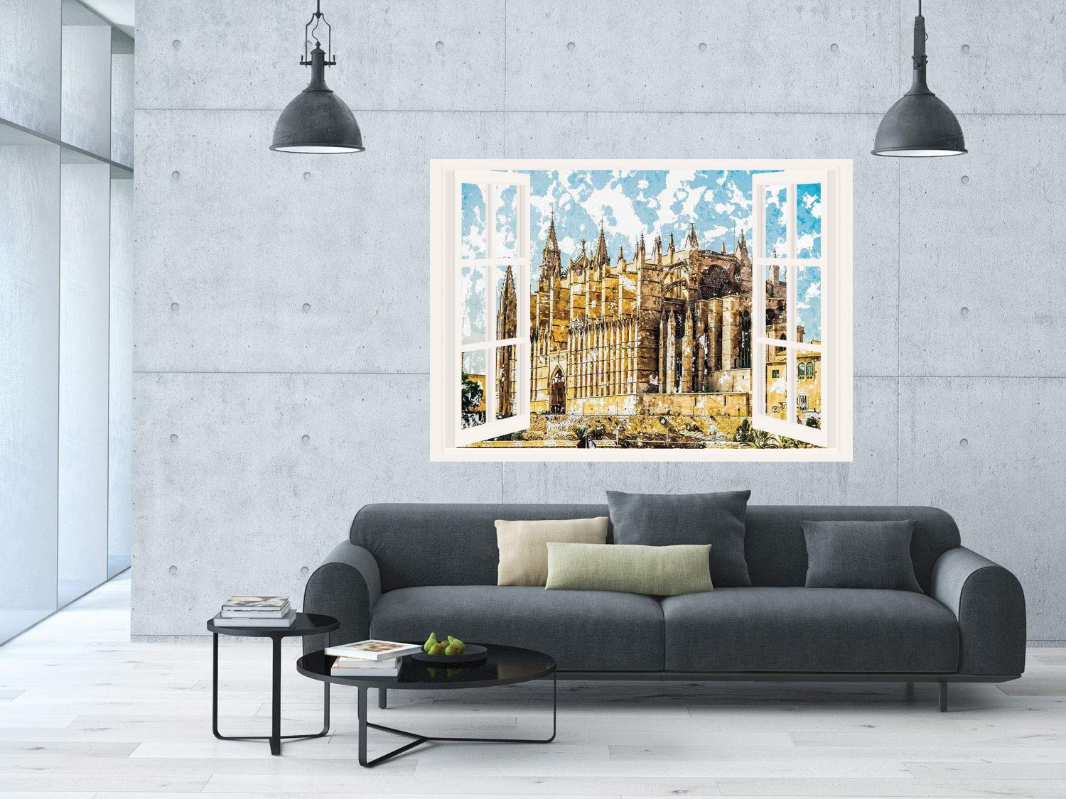 Amazon.com: SCOCICI Removable 3D Windows Frame Wall Mural ...