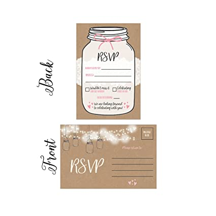 50 Rustic RSVP Cards Postcards No Envelopes Needed Response Card Blank