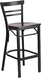 Flash Furniture HERCULES Series Black Two-Slat Ladder Back Metal Restaurant Barstool - Walnut Wood Seat