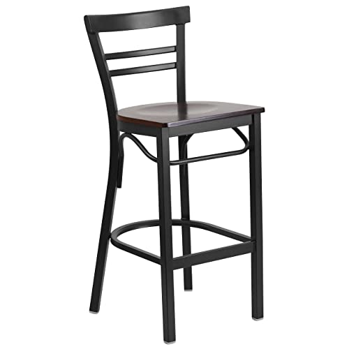 Flash Furniture HERCULES Series Black Two-Slat Ladder Back Metal Restaurant Barstool – Walnut Wood Seat