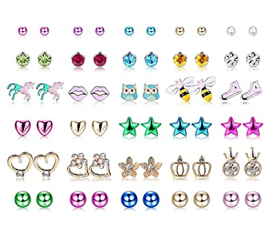 2502a8ec736d4 Amazon.com: Yadoca 30 Pairs Kids Stud Earrings Set Stainless Steel ...
