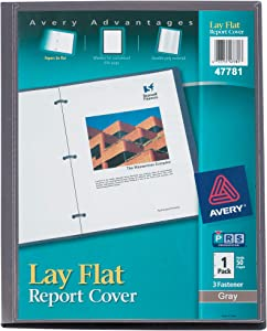 Avery Lay Flat Report Cover with 3 Plastic Fasteners, Clear Front Window, Holds up to 50 Sheets, 1 Gray Cover (47781)