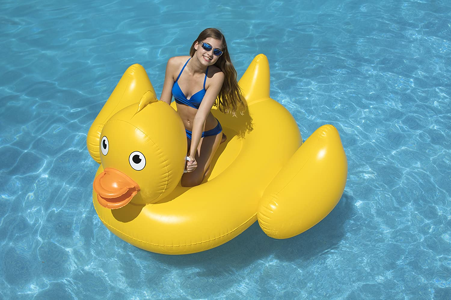 Swimline Giant Lucky Ducky Ride-On Pool Inflatable Ride-On Yellow 90620