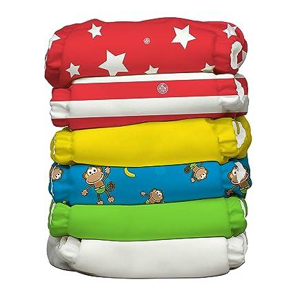 Charlie plátano circo híbrida todo en uno pañales con doce reutilizable insertos, tamaño 1,
