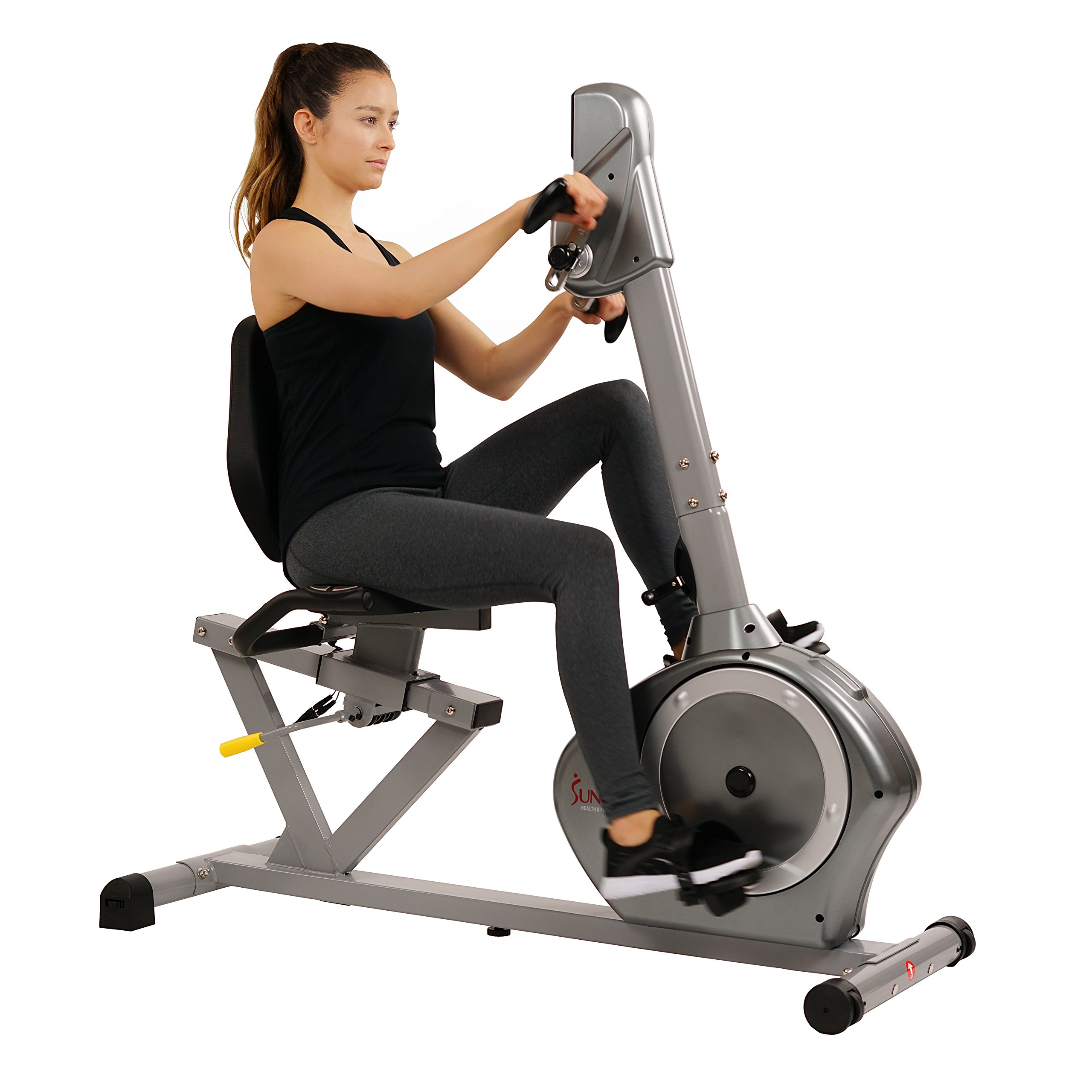 Sunny Health & Fitness Magnetic Recumbent Bike Exercise Bike, 350lb High Weight Capacity, Arm Exercisers, Monitor, Pulse Rate Monitoring - SF-RB4631 by Sunny Health & Fitness