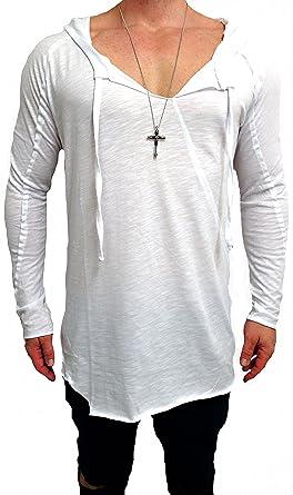 Oversize Kapuzen Longsleeve Shirt langarm basic Deep Longshirt Long shirt  Swag Herren Sweatshirt NEU skater hip