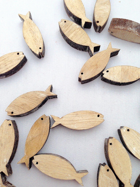 Unbekannt 32x Fische Deko Streudeko Natur 5cm Holz Kommunion