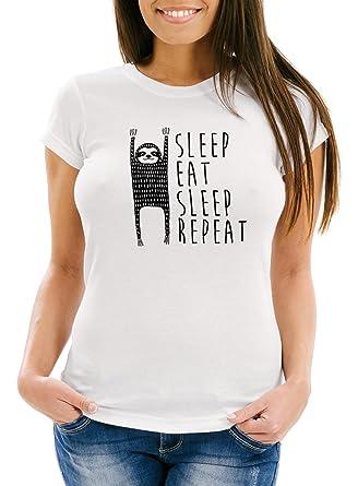 MoonWorks Damen T Shirt mit Spruch Sleep Eat Sleep Repeat