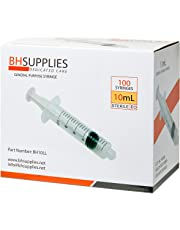 10ml Syringe Sterile with Luer Lock Tip, BH SUPPLIES - (No Needle) Individually Sealed - 100 Syringes