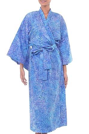 eda46d09a Image Unavailable. Image not available for. Color: NOVICA Women's Blue  Batik Kimono Robe ...