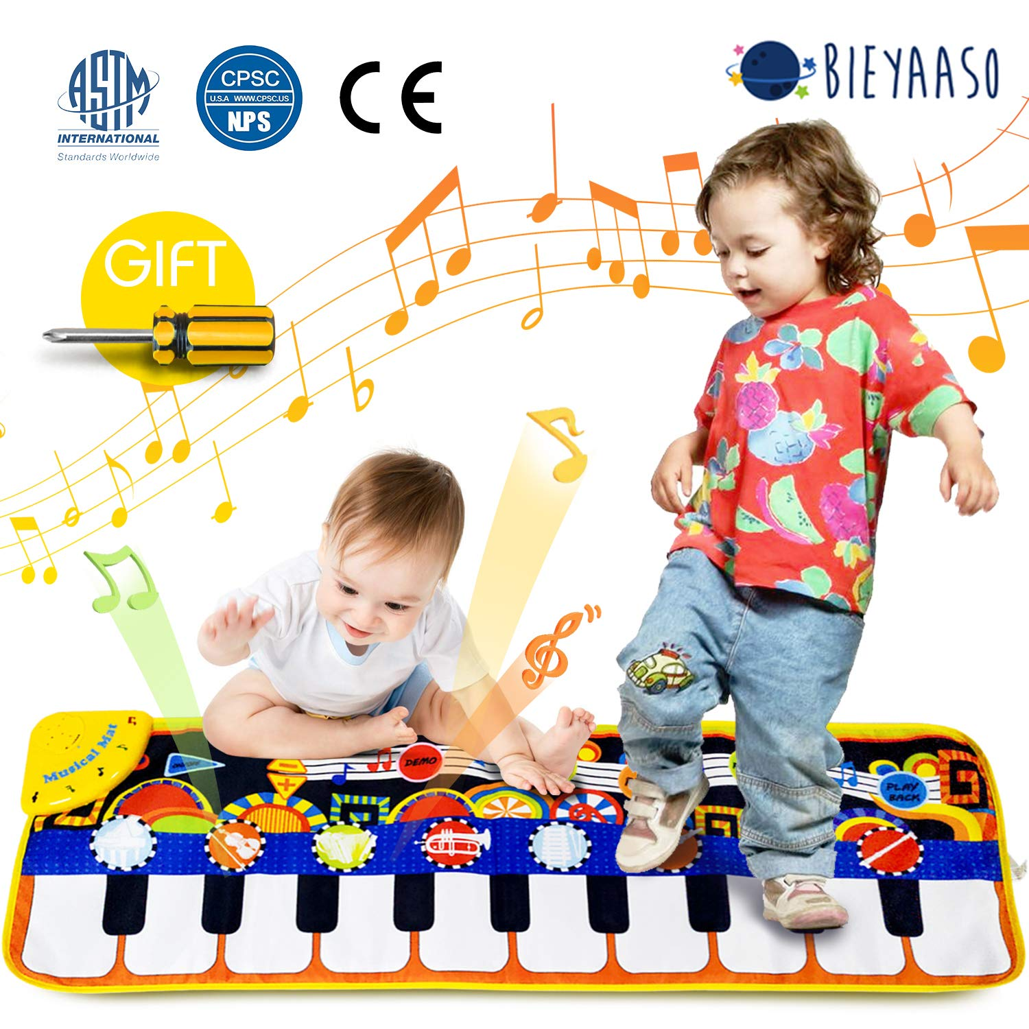 Bieyaaso Musical Piano Mat 19 Keys Piano Keyboard Play Mat Safety Kids Early Education Music Toys Music Mat Build-in Speaker & Recording Music Dance Mat Surprised Gift For Girls & Boys 43.3'' X14.2'' by Bieyaaso