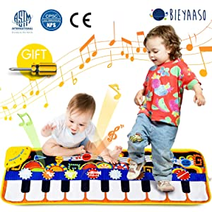 Bieyaaso Musical Piano Mat 19 Keys Piano Keyboard Play Mat Safety Kids Early Education Music Toys Music Mat Build-in Speaker & Recording Music Dance Mat Surprised Gift For Girls & Boys 43.3'' X14.2''
