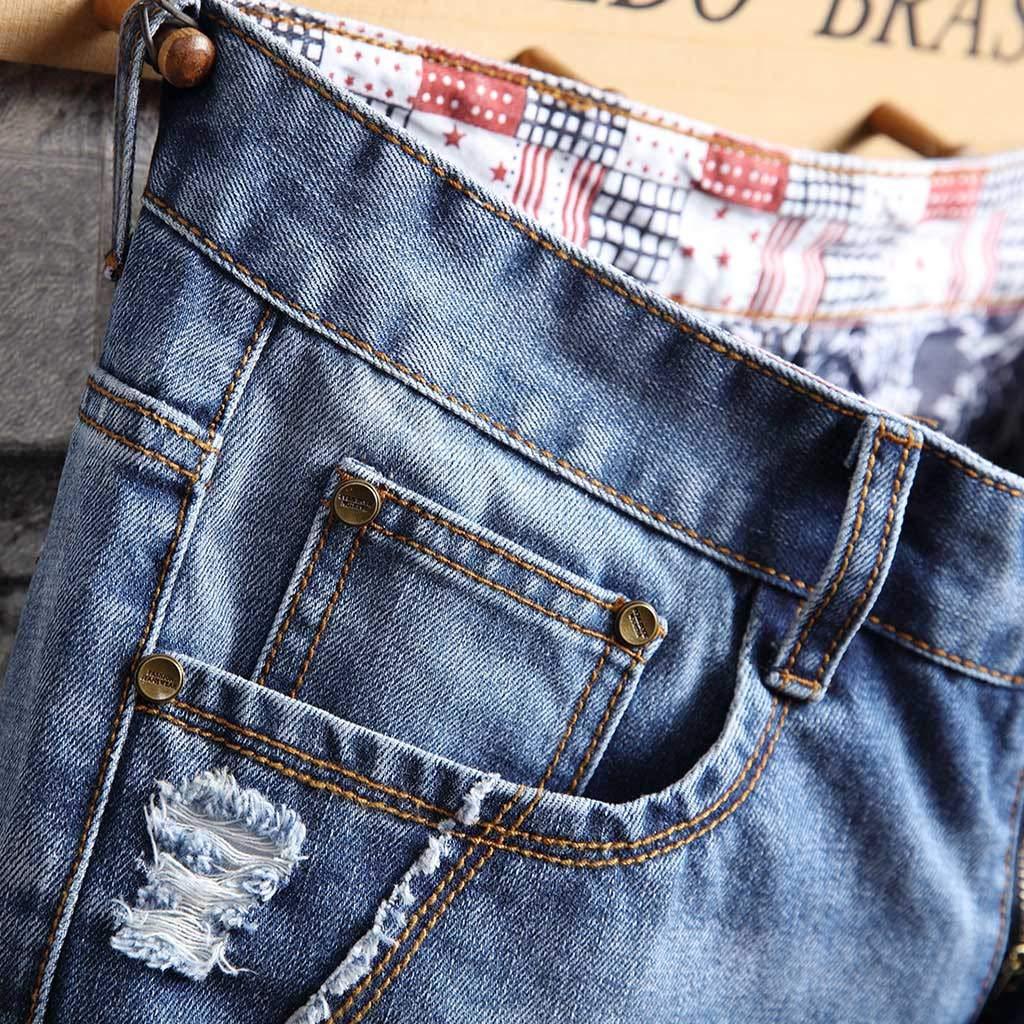 Mijaution Mens Loose Casual Hole Folds Inversion Pattern Pattern Foot Denim Shorts Sweatpants Work Shorts