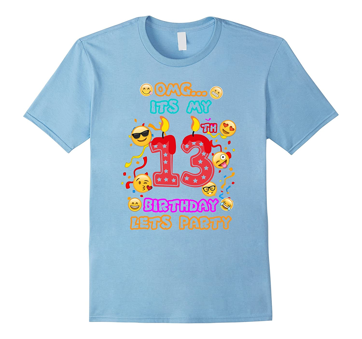 13th Birthday Emoji T-Shirt for 13 Year Old Awesome Kids-CD