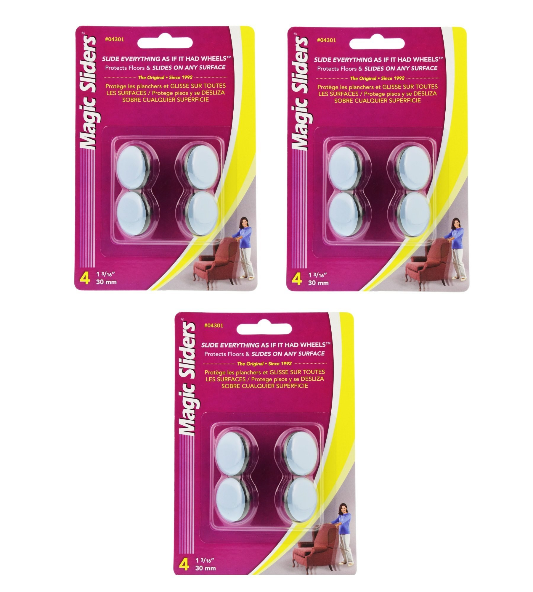 Magic Sliders 04301 1 3/16 inch Round Nail on Sliding Discs - 4 Count (Pack of 3)