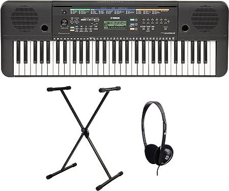 Yamaha PSR-E253 - Set de teclado (con soporte y auriculares, 61 teclas, producción de sonido AWM Stereo Sampling, polifonía de 32 voces, 372 sonidos + ...