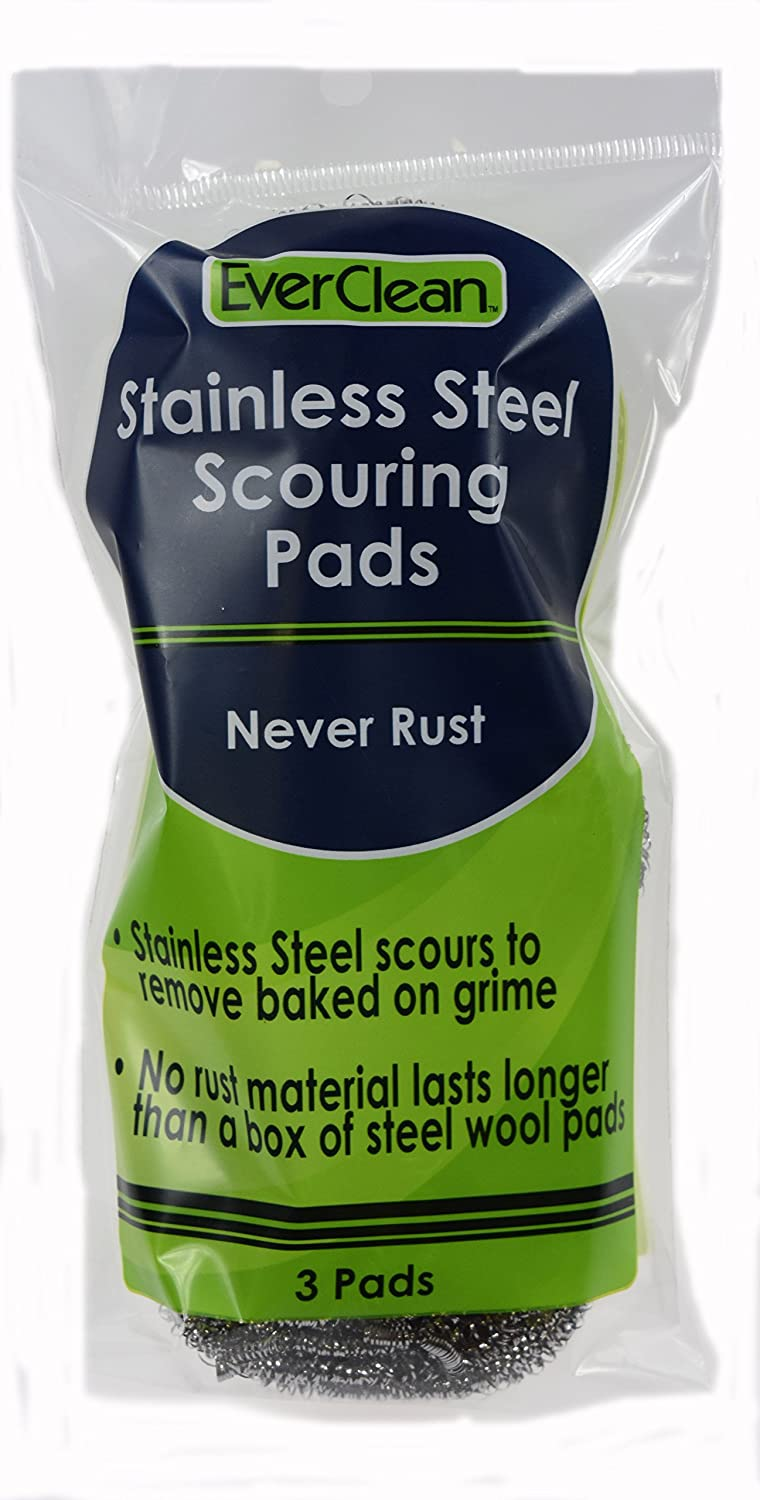 Everclean 6226.0 Stainless Steel Scouring Pads (Pack of 3) SSI Products