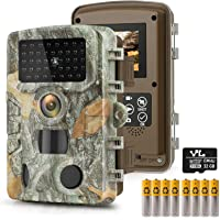 """HAWKRAY Trail Game Camera-T1 24MP 1080P with 32GB SD Card, Hunting Camera w 3 Infrared Sensors 2.4"""" LCD 47pcs Low Glow…"""