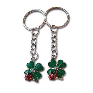Lucky Leaf - Llavero con diseño de mariquita, 2 piezas ...