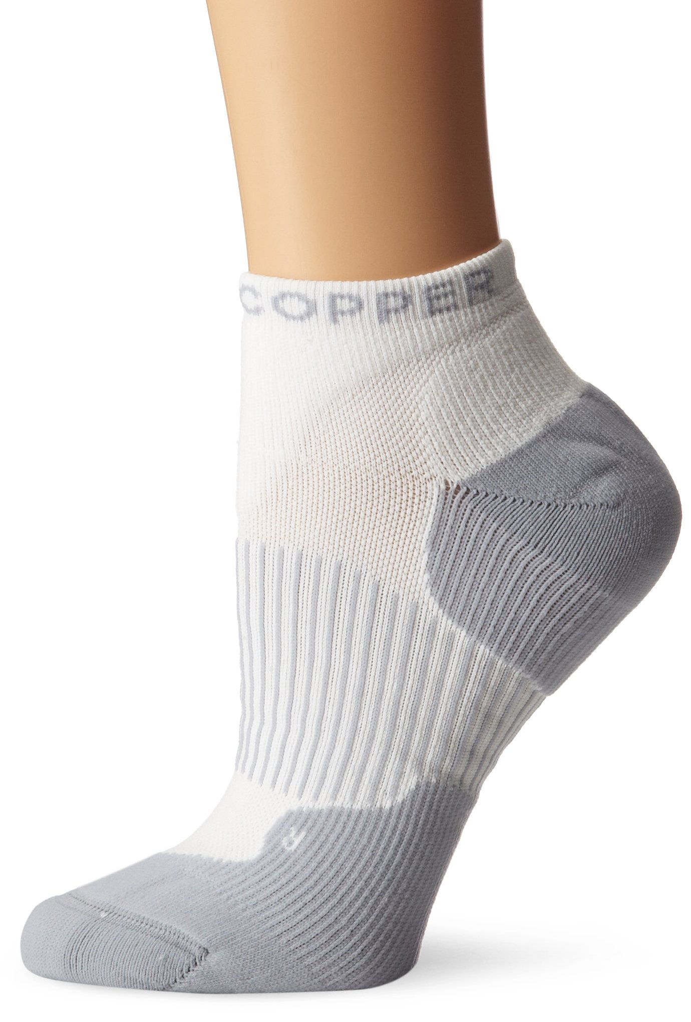 Tommie Copper Women's Performance Compression Ankle Socks, White, 13-15.5