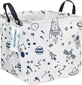 LANGYASHAN Square Storage Baskets Waterproof Canvas Children Laundry Nursery Hamper for Shelves Gift Baskets Toy Organizer Room Decor (Square spaceship)
