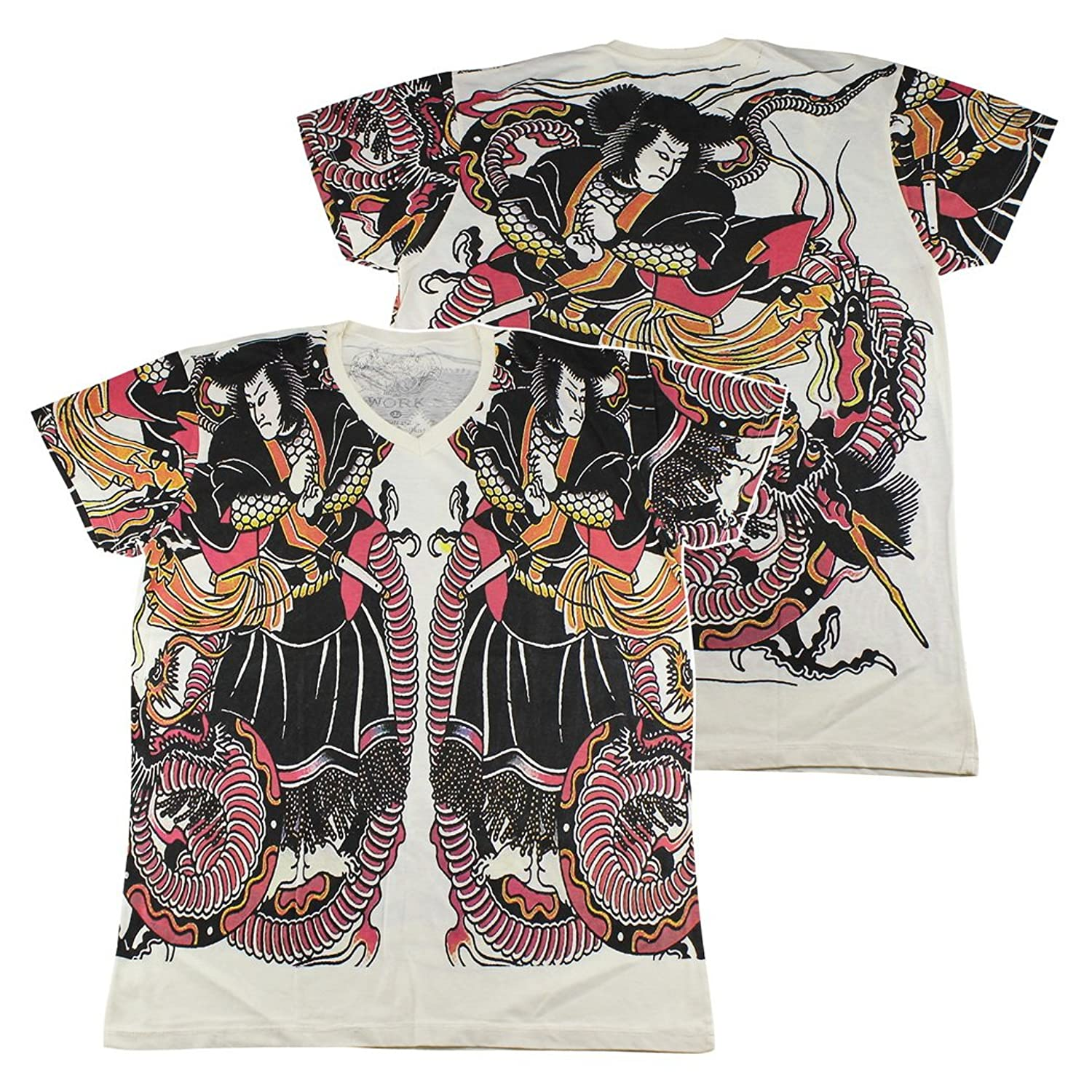 WORK Japanese Irezumi Tattoo T-Shirt White / WK114 size L