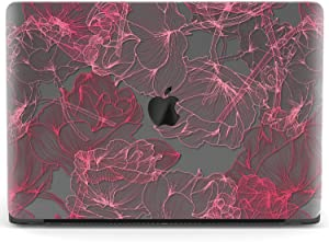 Mertak Hard Case for Apple MacBook Pro 16 Air 13 inch Mac 15 Retina 12 11 2020 2019 2018 2017 Floral Peonies Clear Pink Sketch Flowers Petals Touch Bar Design Drawing Cover Protective Laptop Plastic