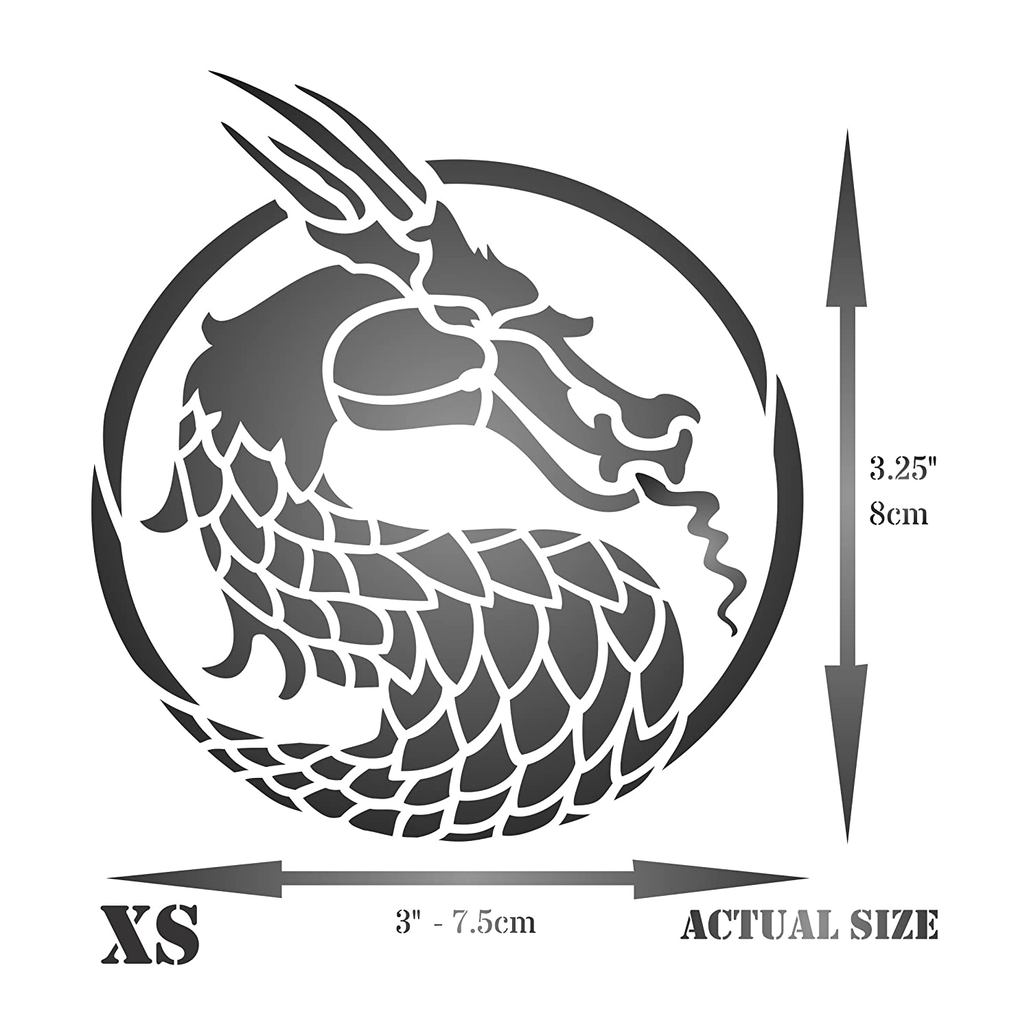 - Reusable Asian Oriental Chinese Japanese Wall Stencil Template Use on Paper Projects Scrapbook Journal Walls Floors Fabric Furniture Glass Wood etc. Dragon Head Stencil 7.5 x 8cm XS