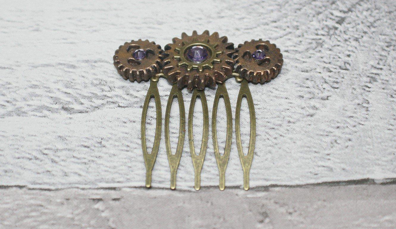 Purple steampunk hair comb