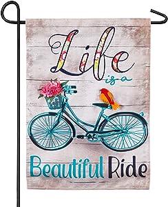 Evergreen Flag Life's A Beautiful Ride Linen Garden Flag - 12.5 x 18 Inches Outdoor Decor for Homes and Gardens