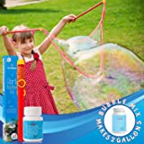 Giant Bubble Wand & Mix for 2 Gallons of Big Bubble Solution w/ Tips & Trick Booklet | Super Bubbles Maker for Kids & Toddler