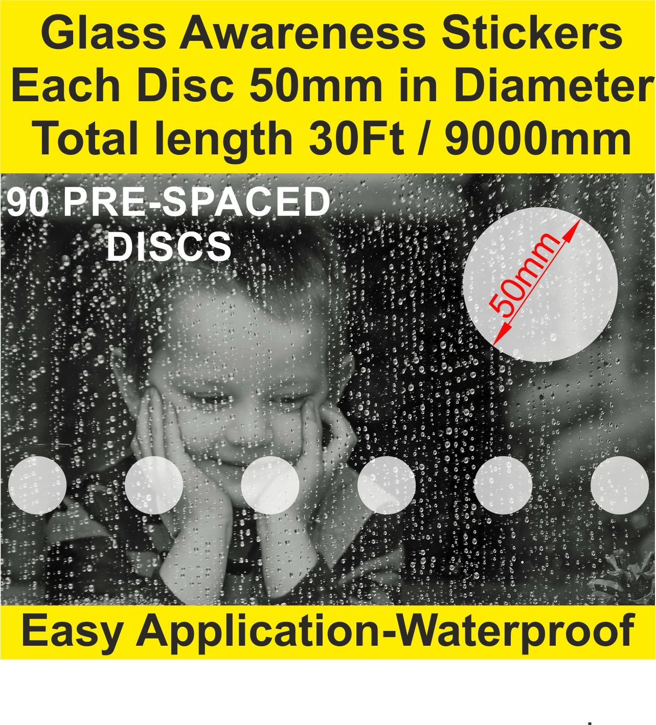 ETCH EFFECT Pack of 90 Glass Awareness Circles Self Adhesive Safety Stickers Manifestation Office Front Shop Home Total Length 50mm X 9000mm / 30Ft