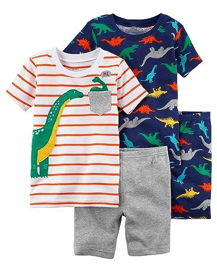 ef24865f8 Amazon.com  Carter s Toddler Boy 4 Pc Cotton Pajama PJS Set Dinosaur ...