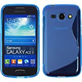 Coque en Silicone pour Samsung Galaxy Ace 3 - S-Style bleu - Cover PhoneNatic Cubierta + films de protection