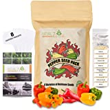 Pepper Seeds 8 Varieties, Jalapeno Pepper, Cayenne Pepper, Serrano, Habanero, Anaheim, and More, Seeds for Planting in Your G
