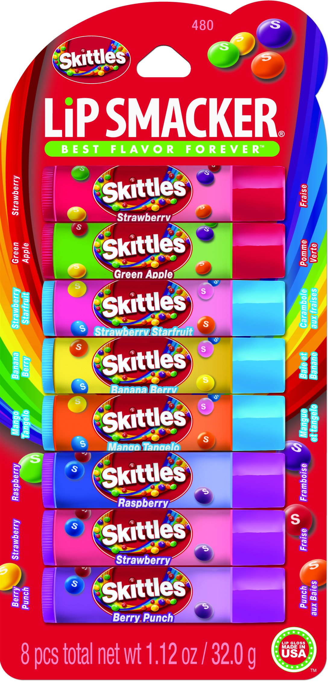 Lip Smacker Skittles Party Pack, 8 count by Bonne Bell