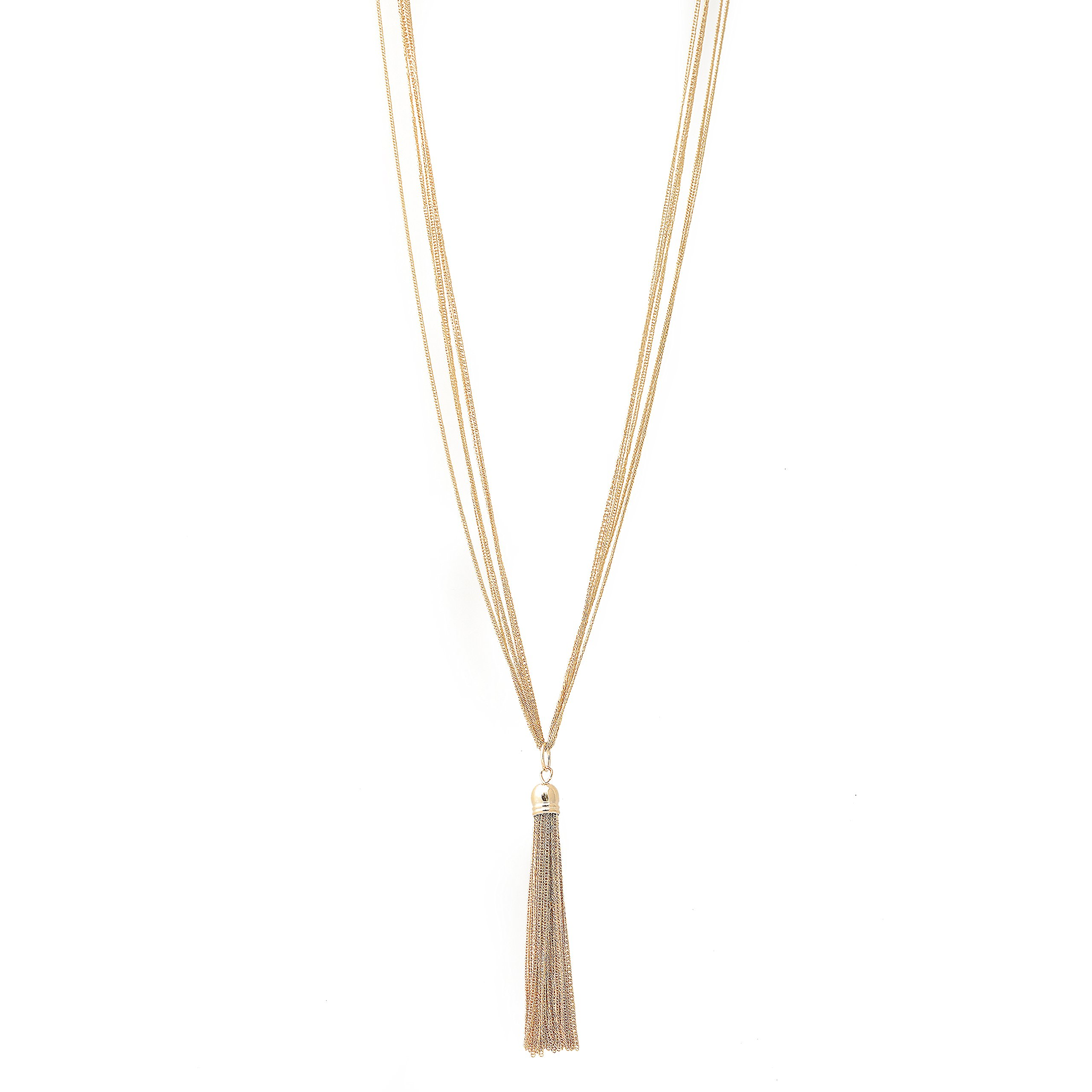 Spinningdaisy Multi Link Tassel End Statement Y Necklace Gold