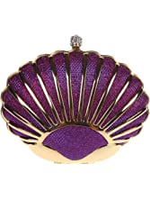 Fawziya Glitter Seashell Clutches And Evening Bags Mini Hard Shell Clutch Purse-Purple