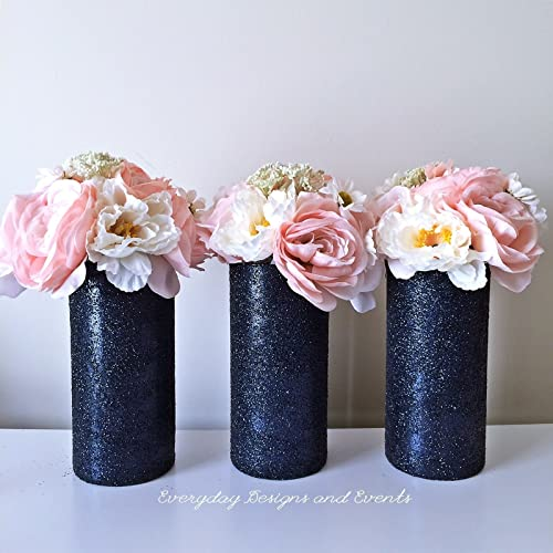 Amazon Set Of 3 Navy Glitter Glass Cylinder Vases Wedding